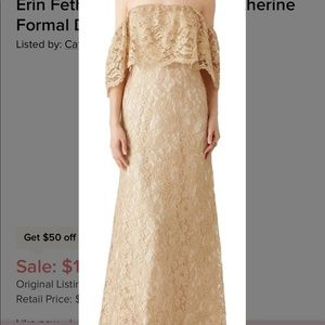 Erin Erin Fetherson Gold Lace Catherine formal drs